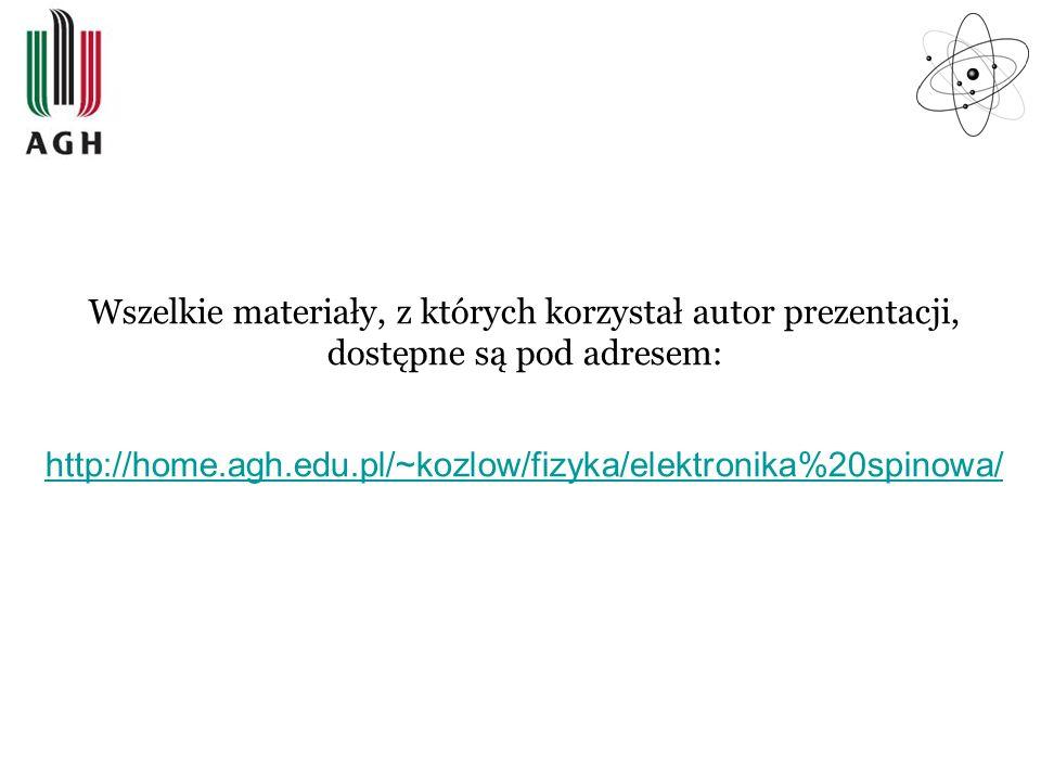 Wszelkie materiały, z których korzystał autor prezentacji, dostępne są pod adresem: http://home.agh.edu.pl/~kozlow/fizyka/elektronika%20spinowa/ http: