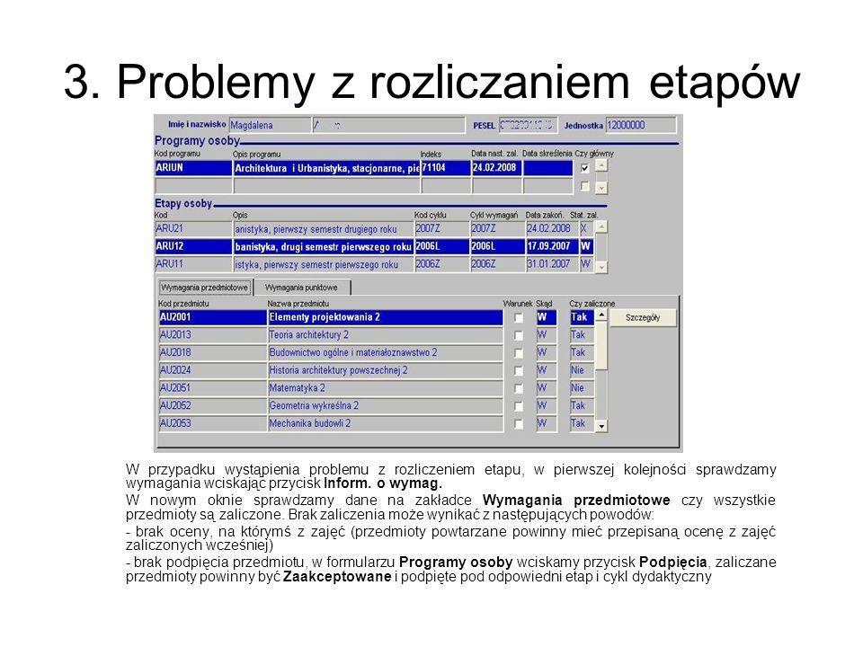 3. Problemy z rozliczaniem etapów W przypadku wystąpienia problemu z rozliczeniem etapu, w pierwszej kolejności sprawdzamy wymagania wciskając przycis
