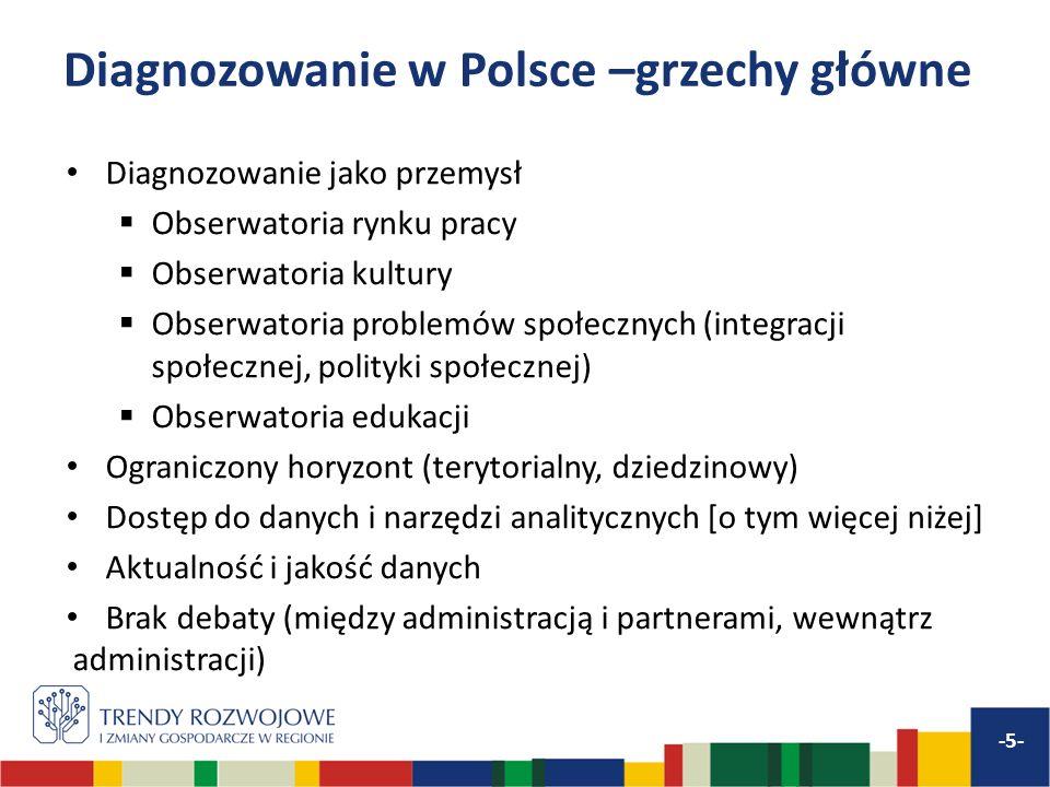 Diagnozowanie w Polsce –grzechy główne Diagnozowanie jako przemysł Obserwatoria rynku pracy Obserwatoria kultury Obserwatoria problemów społecznych (integracji społecznej, polityki społecznej) Obserwatoria edukacji Ograniczony horyzont (terytorialny, dziedzinowy) Dostęp do danych i narzędzi analitycznych [o tym więcej niżej] Aktualność i jakość danych Brak debaty (między administracją i partnerami, wewnątrz administracji) -5-