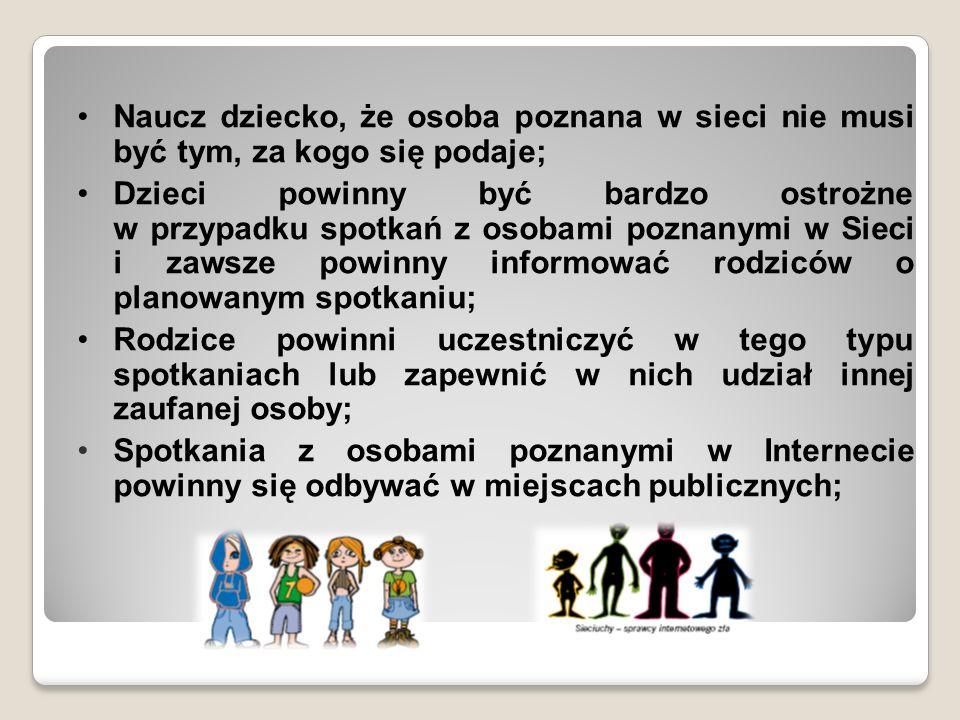 Naucz dziecko, że osoba poznana w sieci nie musi być tym, za kogo się podaje; Dzieci powinny być bardzo ostrożne w przypadku spotkań z osobami poznany