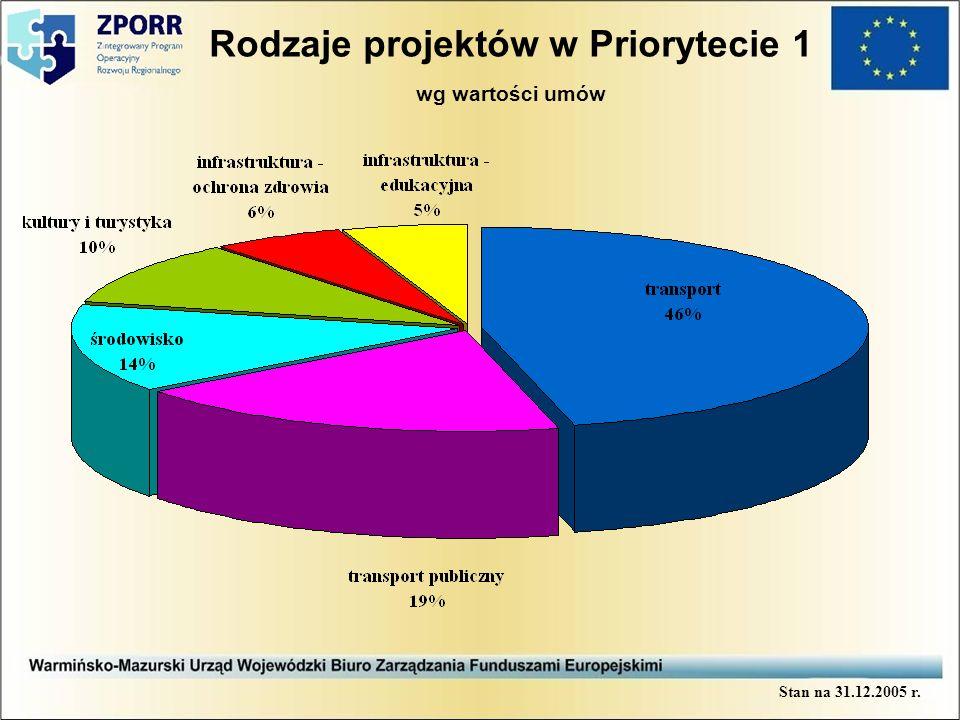 Rodzaje projektów w Priorytecie 1 wg wartości umów Stan na 31.12.2005 r.