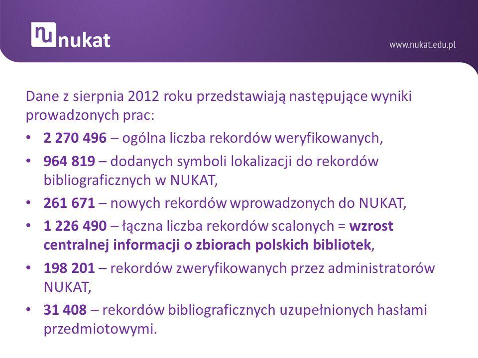 Dane z sierpnia 2012 roku przedstawiają następujące wyniki prowadzonych prac: 2 270 496 – ogólna liczba rekordów weryfikowanych, 964 819 – dodanych sy