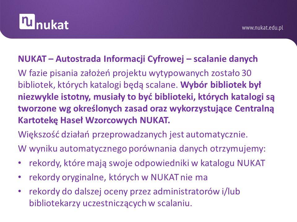 NUKAT – Autostrada Informacji Cyfrowej – scalanie danych W fazie pisania założeń projektu wytypowanych zostało 30 bibliotek, których katalogi będą sca