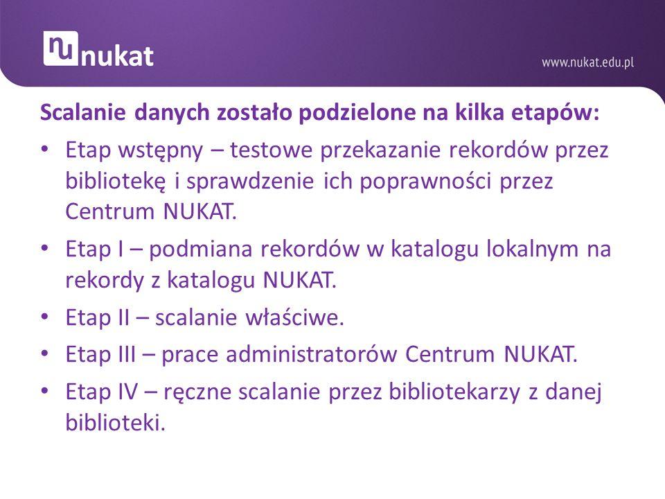 Dane z sierpnia 2012 roku przedstawiają następujące wyniki prowadzonych prac: 2 270 496 – ogólna liczba rekordów weryfikowanych, 964 819 – dodanych symboli lokalizacji do rekordów bibliograficznych w NUKAT, 261 671 – nowych rekordów wprowadzonych do NUKAT, 1 226 490 – łączna liczba rekordów scalonych = wzrost centralnej informacji o zbiorach polskich bibliotek, 198 201 – rekordów zweryfikowanych przez administratorów NUKAT, 31 408 – rekordów bibliograficznych uzupełnionych hasłami przedmiotowymi.