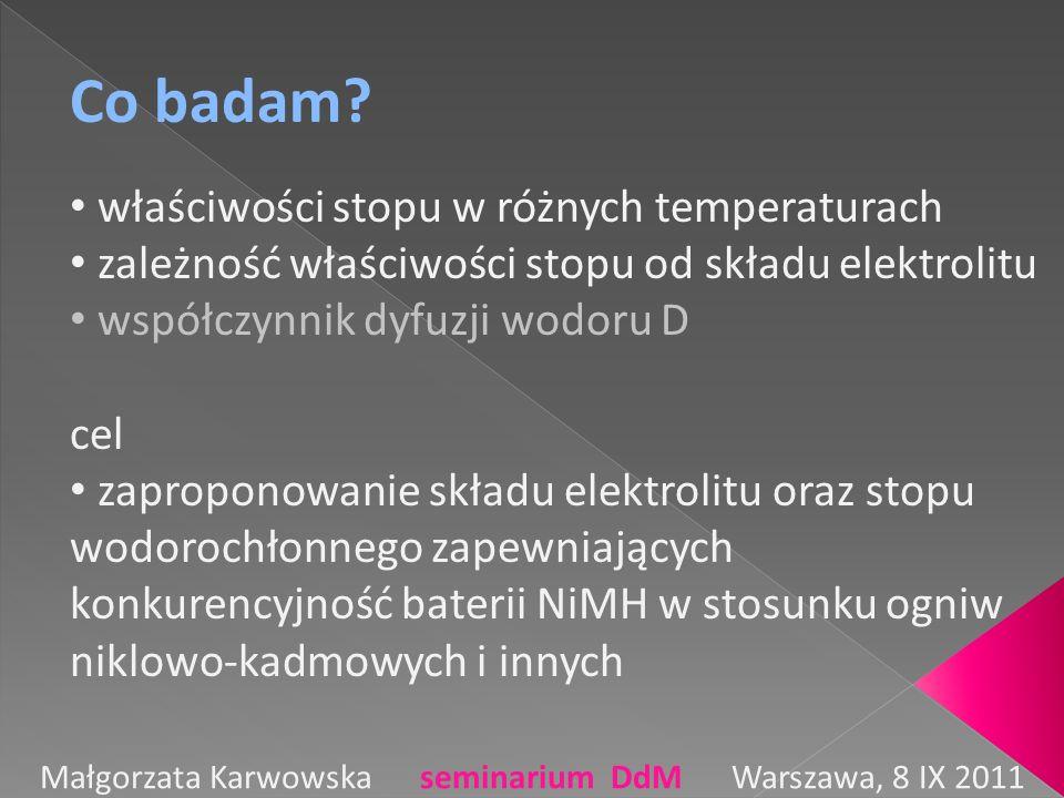 Co badam? właściwości stopu w różnych temperaturach zależność właściwości stopu od składu elektrolitu współczynnik dyfuzji wodoru D cel zaproponowanie