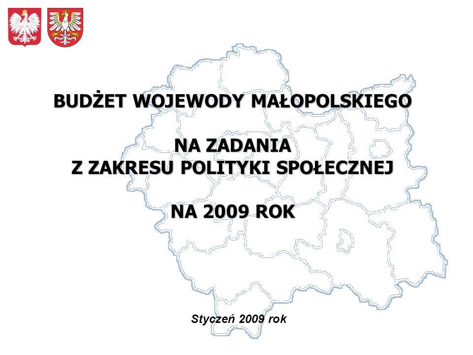Styczeń 2009 rok BUDŻET WOJEWODY MAŁOPOLSKIEGO NA ZADANIA Z ZAKRESU POLITYKI SPOŁECZNEJ NA 2009 ROK