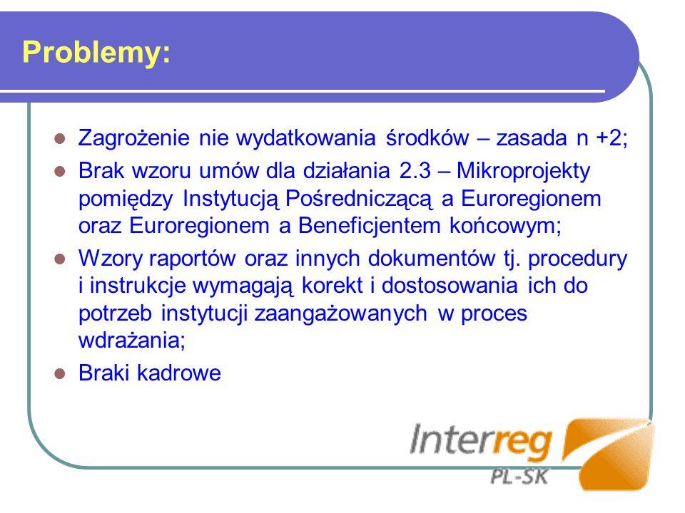 Problemy: Zagrożenie nie wydatkowania środków – zasada n +2; Brak wzoru umów dla działania 2.3 – Mikroprojekty pomiędzy Instytucją Pośredniczącą a Euroregionem oraz Euroregionem a Beneficjentem końcowym; Wzory raportów oraz innych dokumentów tj.