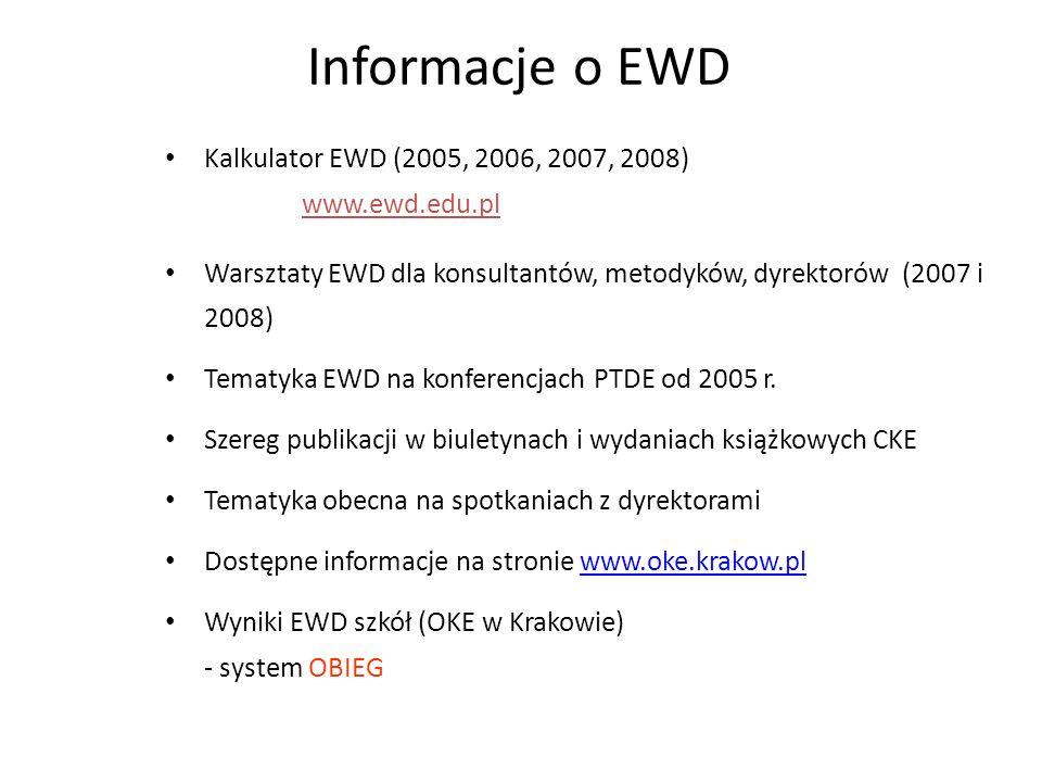 Informacje o EWD Kalkulator EWD (2005, 2006, 2007, 2008) www.ewd.edu.pl Warsztaty EWD dla konsultantów, metodyków, dyrektorów (2007 i 2008) Tematyka E