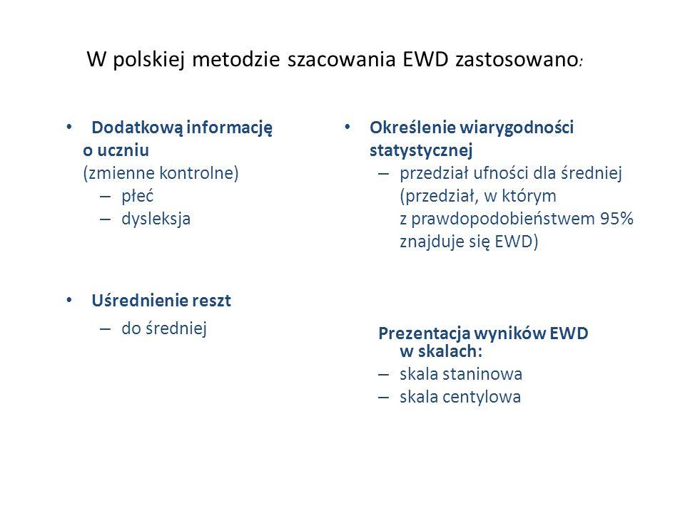 W polskiej metodzie szacowania EWD zastosowano : Dodatkową informację o uczniu (zmienne kontrolne) – płeć – dysleksja Uśrednienie reszt – do średniej