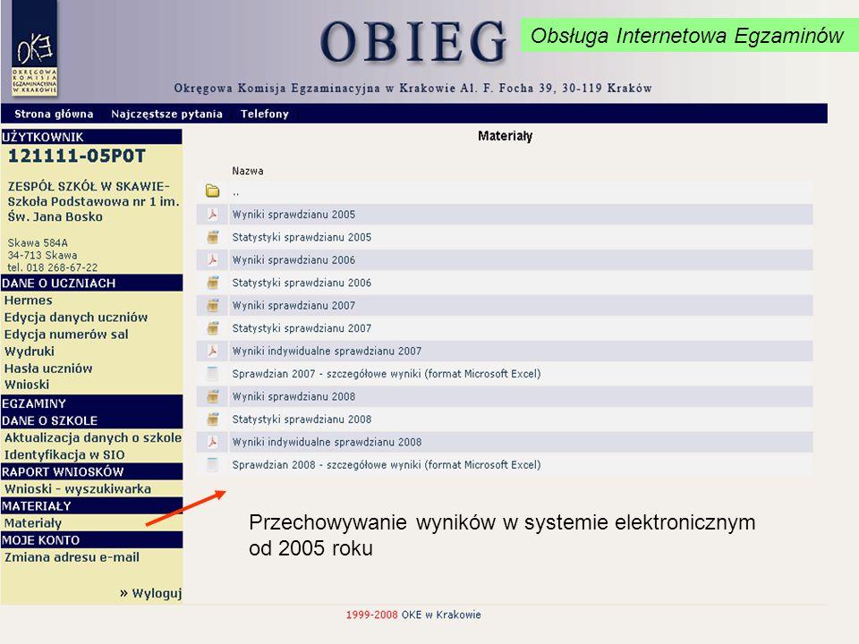 Przechowywanie wyników w systemie elektronicznym od 2005 roku Obsługa Internetowa Egzaminów