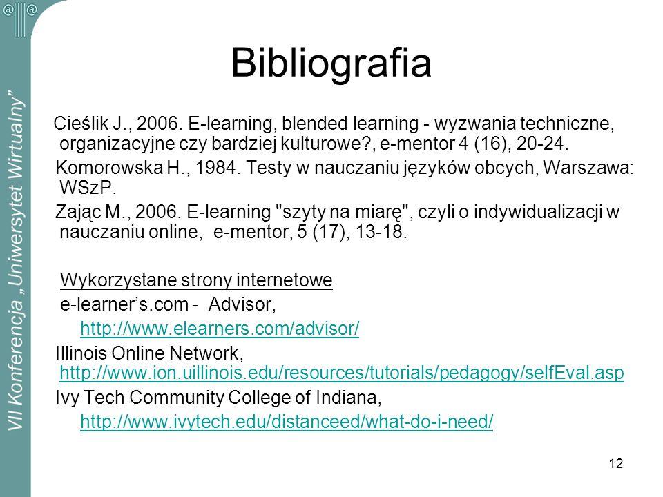 12 Bibliografia Cieślik J., 2006. E-learning, blended learning - wyzwania techniczne, organizacyjne czy bardziej kulturowe?, e-mentor 4 (16), 20-24. K