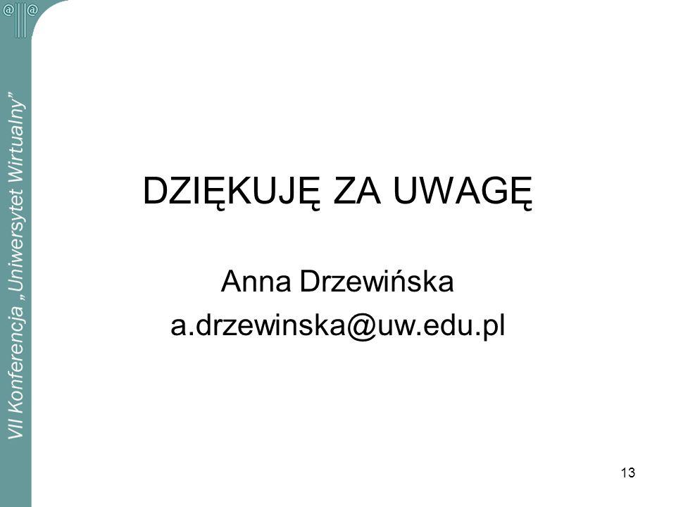 13 DZIĘKUJĘ ZA UWAGĘ Anna Drzewińska a.drzewinska@uw.edu.pl