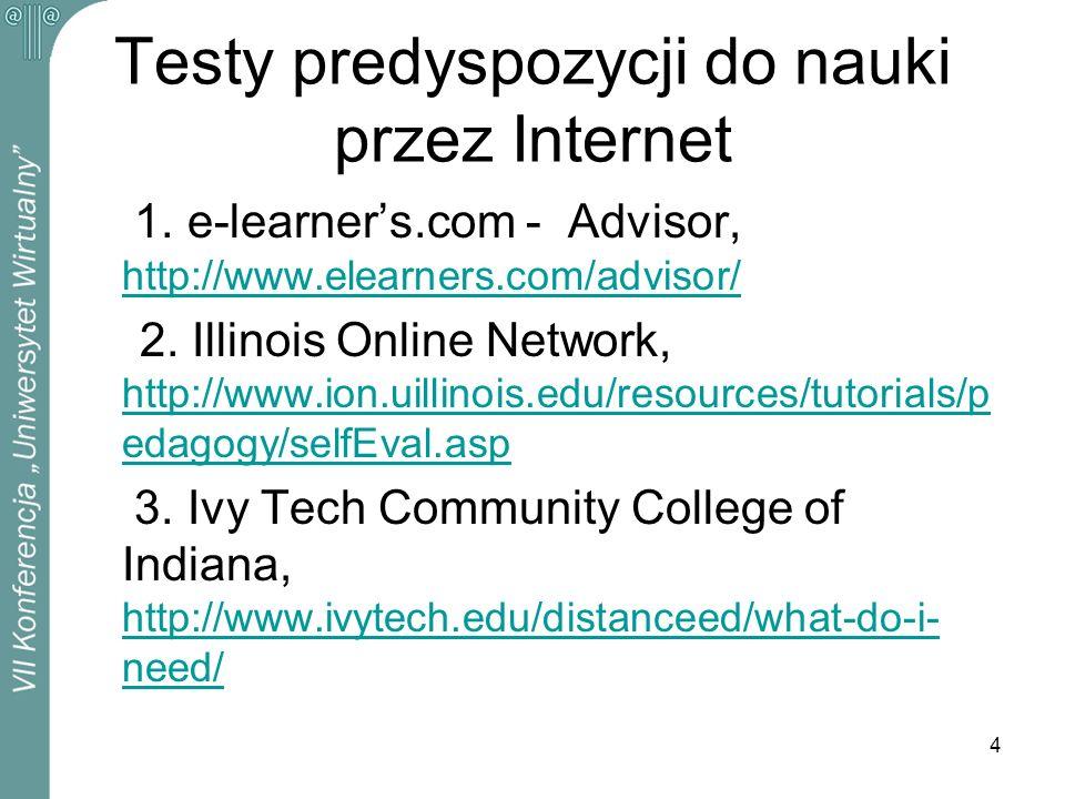 4 Testy predyspozycji do nauki przez Internet 1. e-learners.com - Advisor, http://www.elearners.com/advisor/ http://www.elearners.com/advisor/ 2. Illi