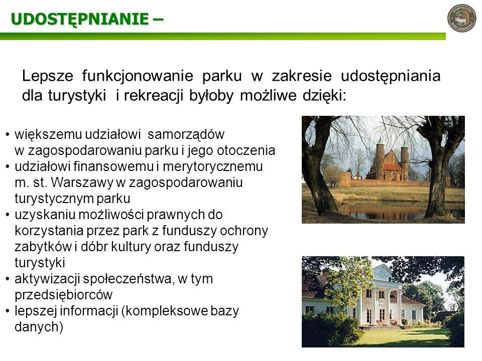 UDOSTĘPNIANIE – większemu udziałowi samorządów w zagospodarowaniu parku i jego otoczenia udziałowi finansowemu i merytorycznemu m. st. Warszawy w zago