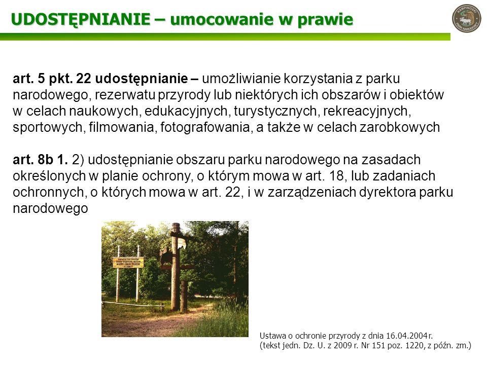 UDOSTĘPNIANIE – umocowanie w prawie art. 5 pkt. 22 udostępnianie – umożliwianie korzystania z parku narodowego, rezerwatu przyrody lub niektórych ich