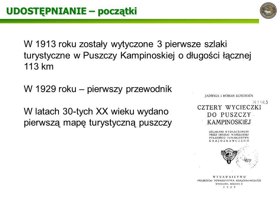 UDOSTĘPNIANIE – początki W 1913 roku zostały wytyczone 3 pierwsze szlaki turystyczne w Puszczy Kampinoskiej o długości łącznej 113 km W 1929 roku – pi