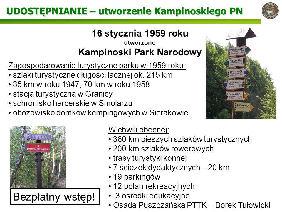 UDOSTĘPNIANIE – utworzenie Kampinoskiego PN 16 stycznia 1959 roku utworzono Kampinoski Park Narodowy Zagospodarowanie turystyczne parku w 1959 roku: s