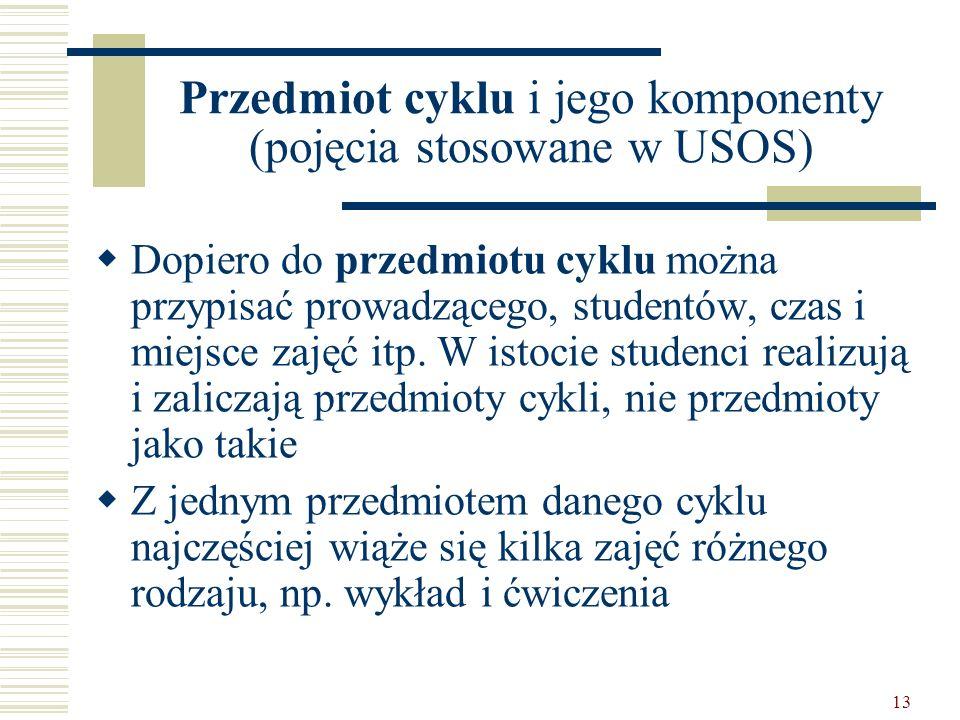 13 Przedmiot cyklu i jego komponenty (pojęcia stosowane w USOS) Dopiero do przedmiotu cyklu można przypisać prowadzącego, studentów, czas i miejsce zajęć itp.