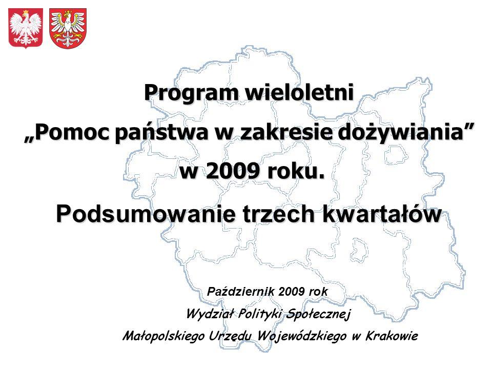 Październik 2009 rok Wydział Polityki Społecznej Małopolskiego Urzędu Wojewódzkiego w Krakowie Program wieloletni Pomoc państwa w zakresie dożywiania w 2009 roku.