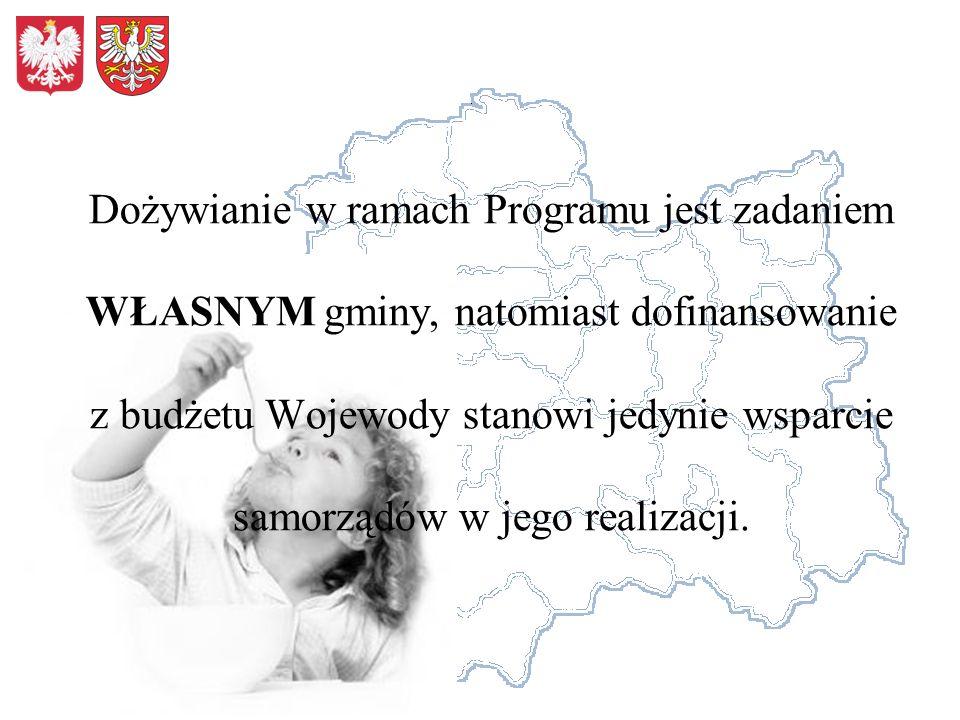 Dożywianie w ramach Programu jest zadaniem WŁASNYM gminy, natomiast dofinansowanie z budżetu Wojewody stanowi jedynie wsparcie samorządów w jego realizacji.
