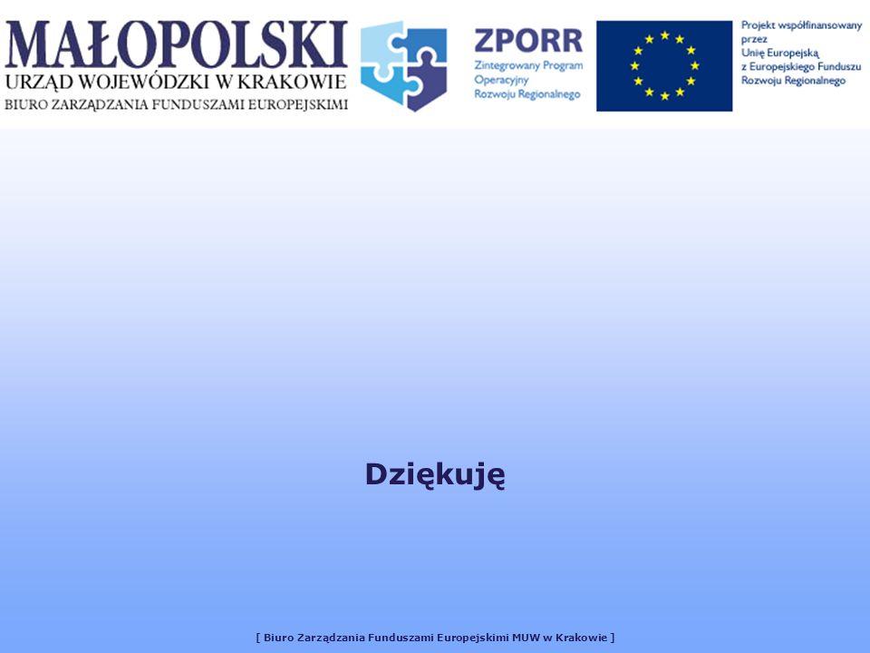 [ Biuro Zarządzania Funduszami Europejskimi MUW w Krakowie ] Dziękuję