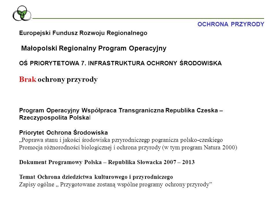 Europejski Fundusz Rozwoju Regionalnego Małopolski Regionalny Program Operacyjny Priorytet V Środowisko W ramach priorytetu wspierane będą działania w