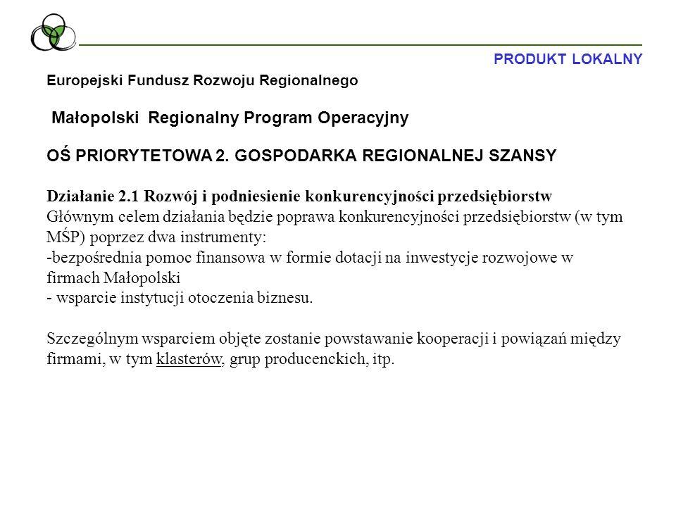 PRODUKT LOKALNY Europejski Fundusz Rozwoju Regionalnego Małopolski Regionalny Program Operacyjny OŚ PRIORYTETOWA 2.