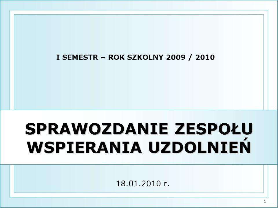 1 SPRAWOZDANIE ZESPOŁU WSPIERANIA UZDOLNIEŃ 18.01.2010 r. I SEMESTR – ROK SZKOLNY 2009 / 2010