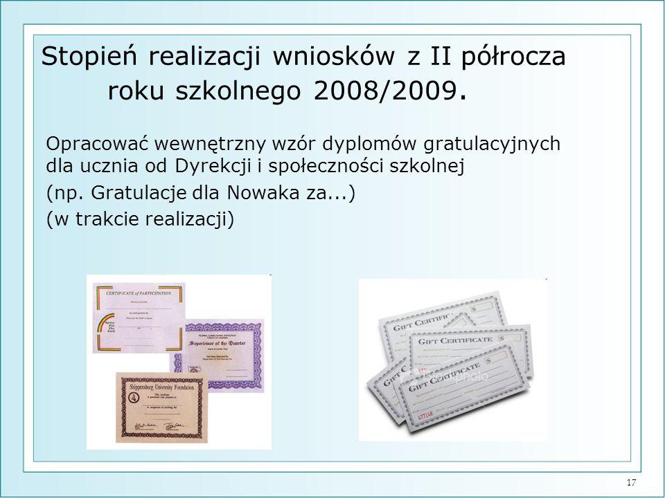 17 Stopień realizacji wniosków z II półrocza roku szkolnego 2008/2009. Opracować wewnętrzny wzór dyplomów gratulacyjnych dla ucznia od Dyrekcji i społ