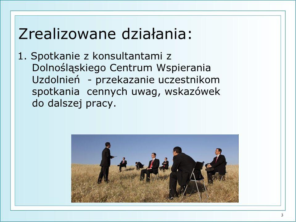 3 Zrealizowane działania: 1. Spotkanie z konsultantami z Dolnośląskiego Centrum Wspierania Uzdolnień - przekazanie uczestnikom spotkania cennych uwag,