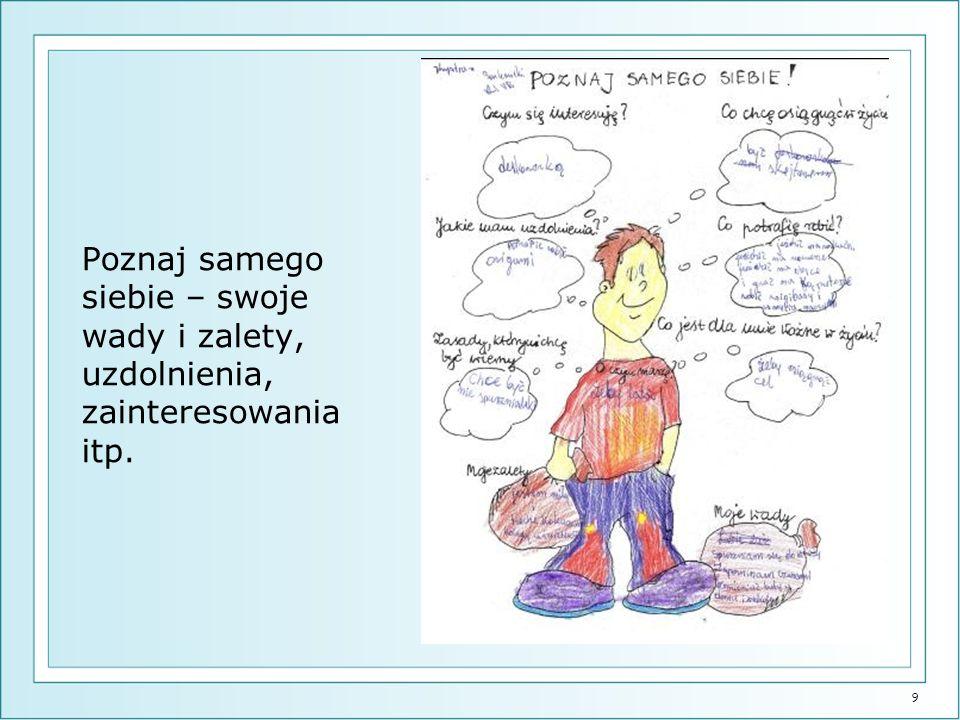 9 Poznaj samego siebie – swoje wady i zalety, uzdolnienia, zainteresowania itp.