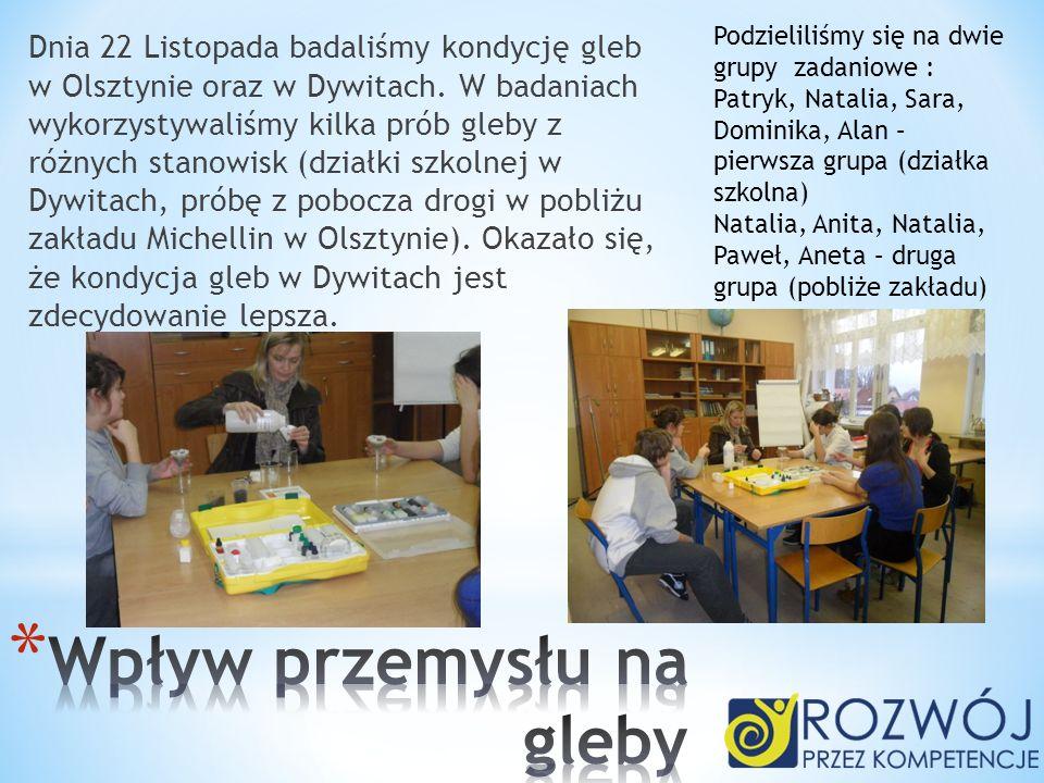 Dnia 22 Listopada badaliśmy kondycję gleb w Olsztynie oraz w Dywitach. W badaniach wykorzystywaliśmy kilka prób gleby z różnych stanowisk (działki szk