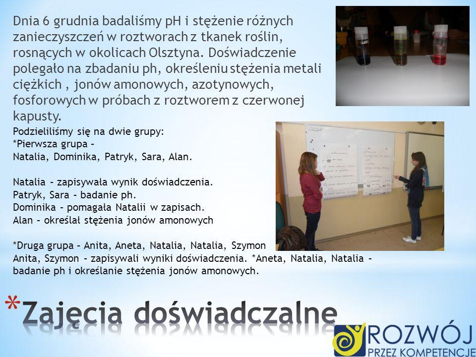 Dnia 6 grudnia badaliśmy pH i stężenie różnych zanieczyszczeń w roztworach z tkanek roślin, rosnących w okolicach Olsztyna. Doświadczenie polegało na