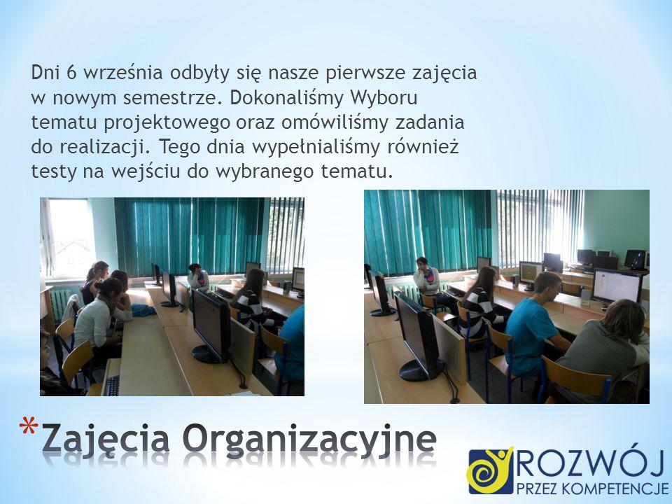 Dni 6 września odbyły się nasze pierwsze zajęcia w nowym semestrze. Dokonaliśmy Wyboru tematu projektowego oraz omówiliśmy zadania do realizacji. Tego