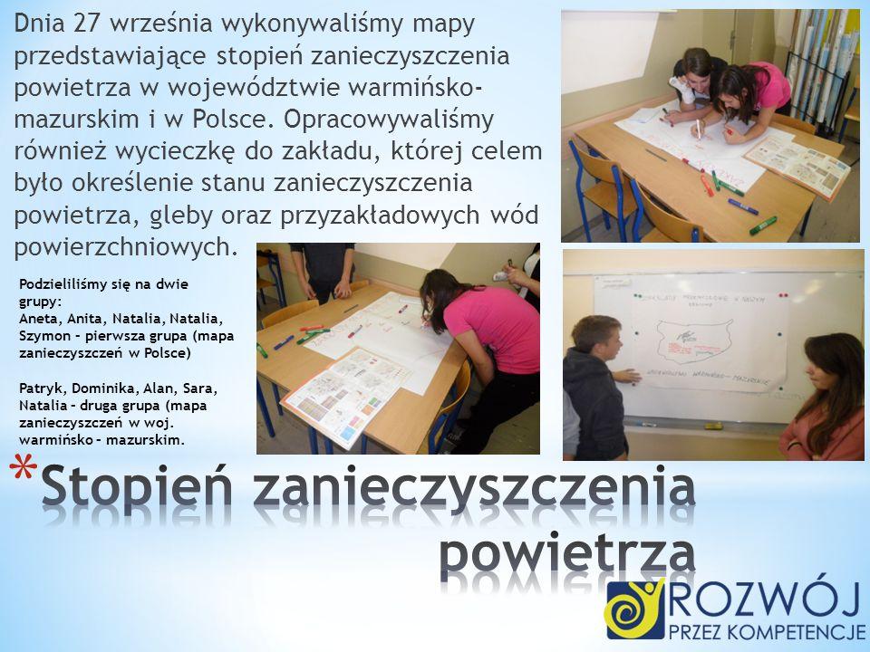 Dnia 27 września wykonywaliśmy mapy przedstawiające stopień zanieczyszczenia powietrza w województwie warmińsko- mazurskim i w Polsce. Opracowywaliśmy
