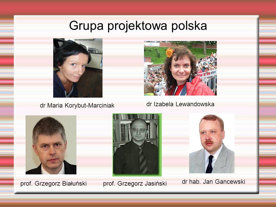 Grupa projektowa polska dr hab. Jan Gancewski prof. Grzegorz Białuński dr Izabela Lewandowska prof. Grzegorz Jasiński dr Maria Korybut-Marciniak