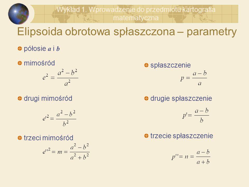 Elipsoida obrotowa spłaszczona – parametry mimośród drugi mimośród trzeci mimośród spłaszczenie drugie spłaszczenie trzecie spłaszczenie półosie a i b