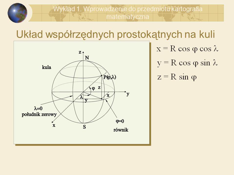 Układ współrzędnych prostokątnych na kuli Wykład 1. Wprowadzenie do przedmiotu kartografia matematyczna