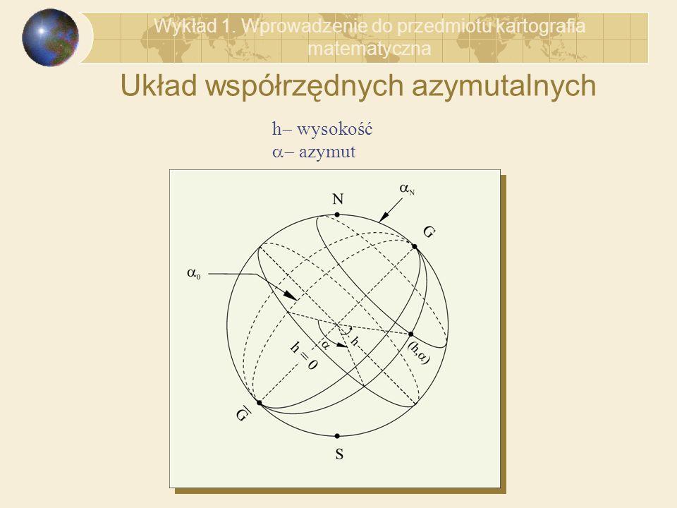 Układ współrzędnych azymutalnych Wykład 1. Wprowadzenie do przedmiotu kartografia matematyczna h wysokość azymut