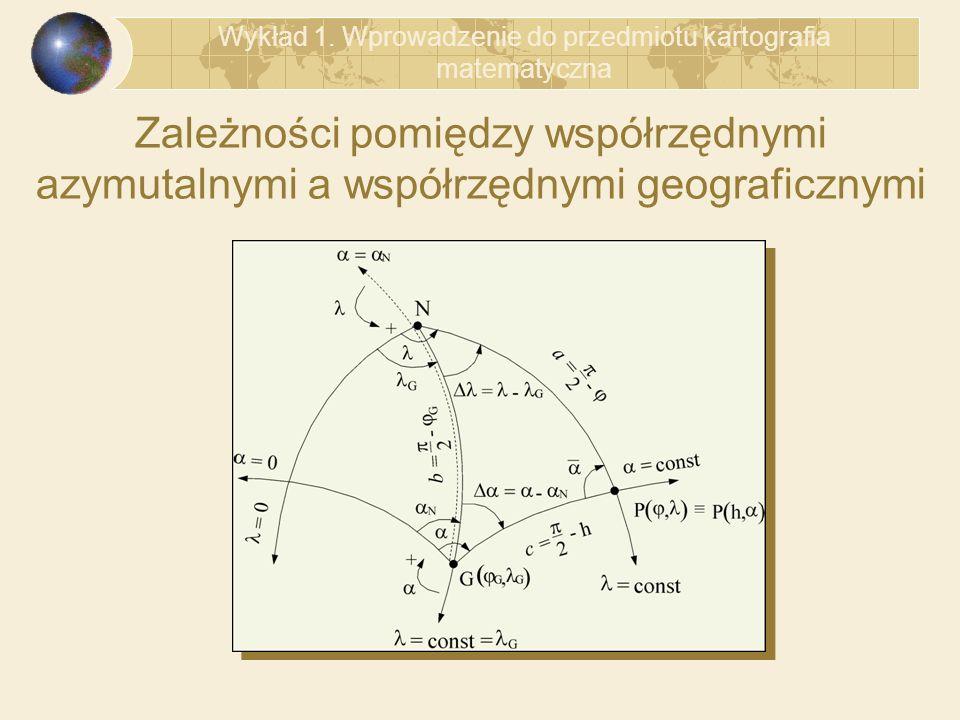 Zależności pomiędzy współrzędnymi azymutalnymi a współrzędnymi geograficznymi Wykład 1. Wprowadzenie do przedmiotu kartografia matematyczna