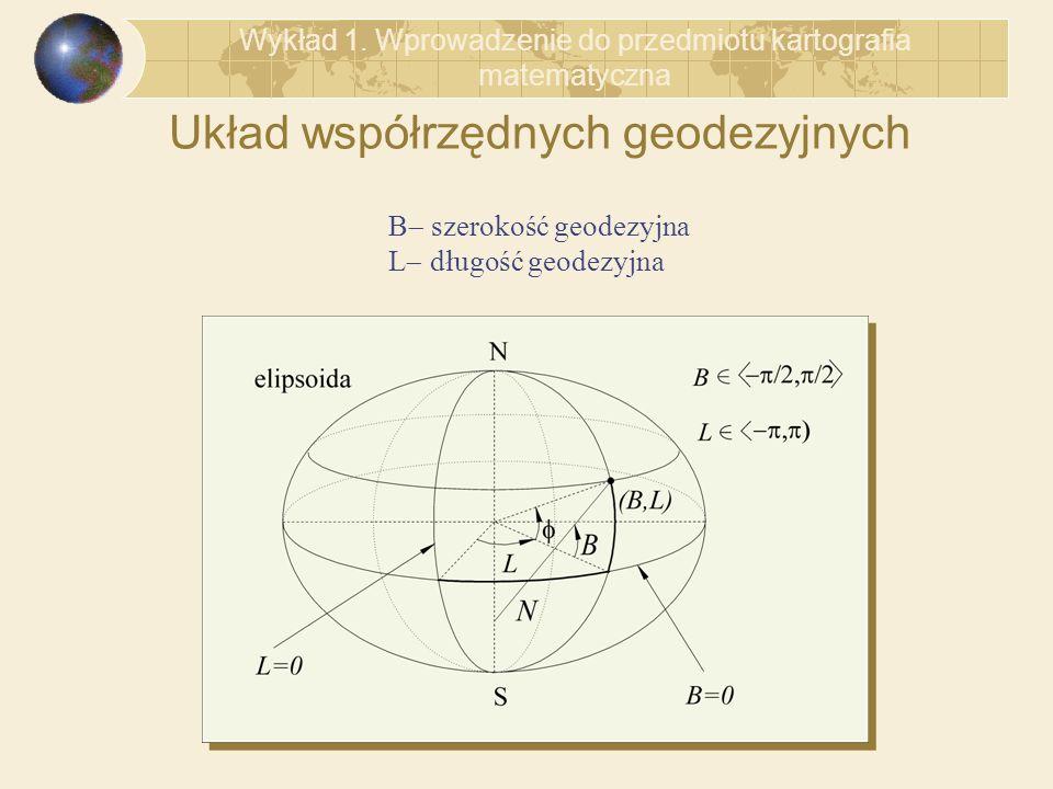 Układ współrzędnych geodezyjnych Wykład 1. Wprowadzenie do przedmiotu kartografia matematyczna B szerokość geodezyjna L długość geodezyjna