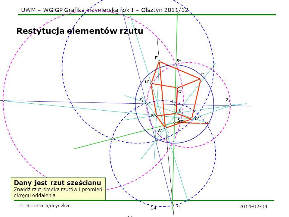 UWM – WGiGP Grafika inżynierska rok I – Olsztyn 2011/12 2014-02-04 dr Renata Jędryczka 14 H F D C B A G E Restytucja elementów rzutu Dany jest rzut sz