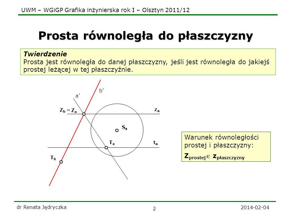 UWM – WGiGP Grafika inżynierska rok I – Olsztyn 2011/12 2014-02-04 dr Renata Jędryczka 3 z t b ZbZb Zadanie Przez dany punkt A poprowadź prostą b równoległą do danej płaszczyzny t z S a ZaZa TaTa T b A Plan zadania: 1.Przez punkt A rysujemy dowolną prostą b || 2.Rysujemy ślady płaszczyzny(a,b).