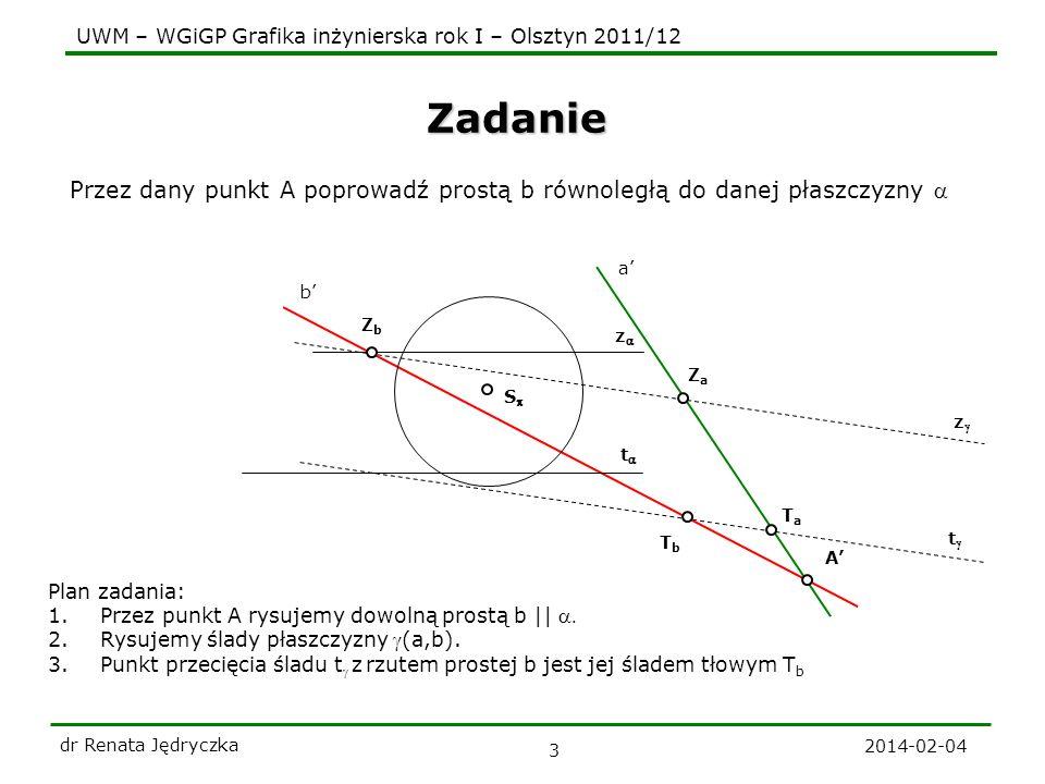 UWM – WGiGP Grafika inżynierska rok I – Olsztyn 2011/12 2014-02-04 dr Renata Jędryczka 4 t Płaszczyzny równoległe t z S Twierdzenie Płaszczyzna jest równoległa do drugiej płaszczyzny, jeśli zawiera dwie proste przecinające się równoległe do tej płaszczyzny.