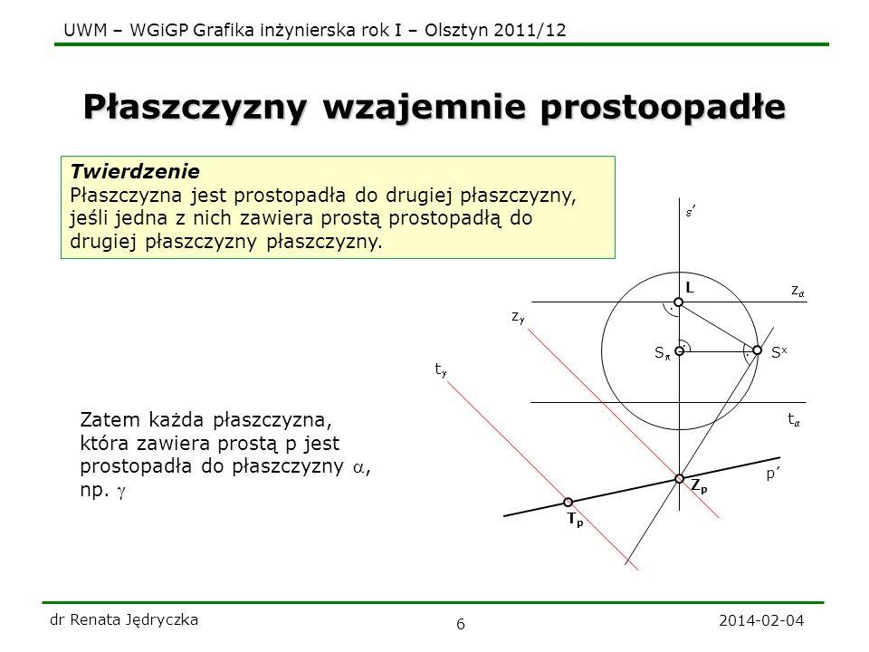 UWM – WGiGP Grafika inżynierska rok I – Olsztyn 2011/12 Płaszczyzny wzajemnie prostoopadłe 2014-02-04 dr Renata Jędryczka 6 Twierdzenie Płaszczyzna je
