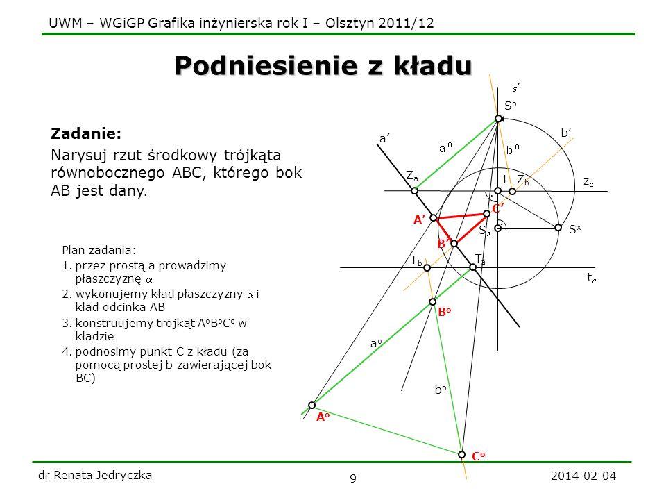 UWM – WGiGP Grafika inżynierska rok I – Olsztyn 2011/12 2014-02-04 dr Renata Jędryczka 10 Punkt mierzenia prostej t z L SxSx SoSo aoao AoAo BoBo.