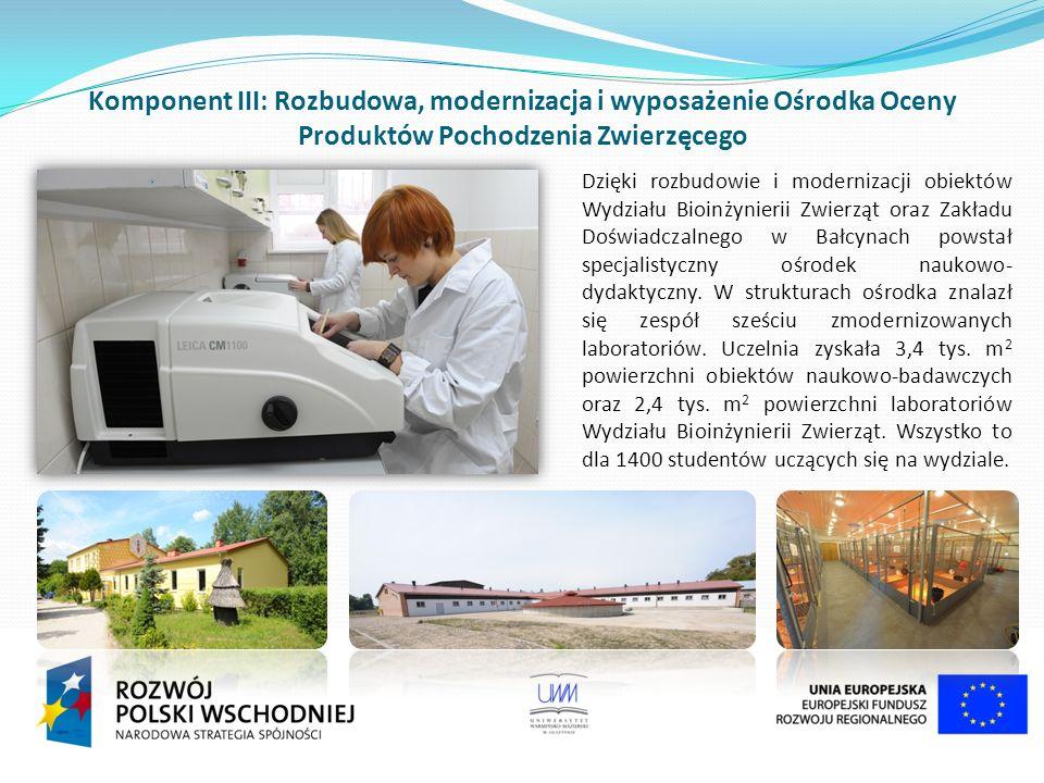 Komponent III: Rozbudowa, modernizacja i wyposażenie Ośrodka Oceny Produktów Pochodzenia Zwierzęcego Dzięki rozbudowie i modernizacji obiektów Wydziału Bioinżynierii Zwierząt oraz Zakładu Doświadczalnego w Bałcynach powstał specjalistyczny ośrodek naukowo- dydaktyczny.