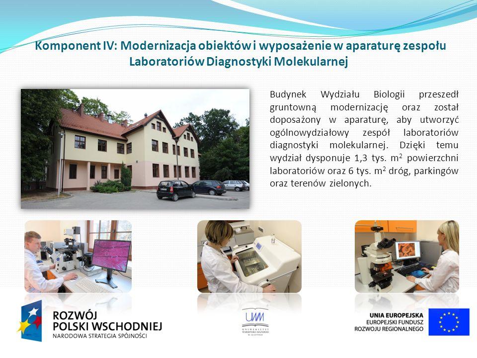 Komponent IV: Modernizacja obiektów i wyposażenie w aparaturę zespołu Laboratoriów Diagnostyki Molekularnej Budynek Wydziału Biologii przeszedł gruntowną modernizację oraz został doposażony w aparaturę, aby utworzyć ogólnowydziałowy zespół laboratoriów diagnostyki molekularnej.