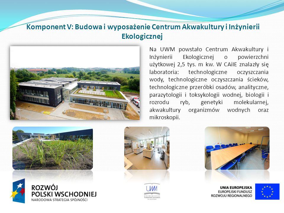 Komponent V: Budowa i wyposażenie Centrum Akwakultury i Inżynierii Ekologicznej Na UWM powstało Centrum Akwakultury i Inżynierii Ekologicznej o powierzchni użytkowej 2,5 tys.