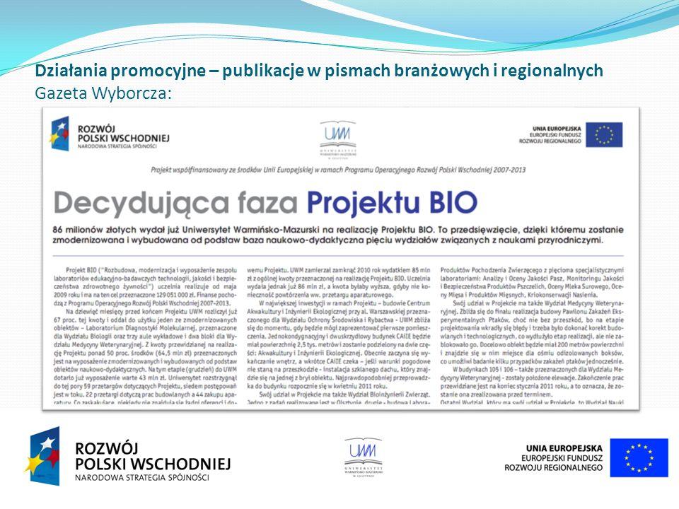 Działania promocyjne – publikacje w pismach branżowych i regionalnych Gazeta Wyborcza: